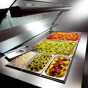 Banco vetrina caldo per self service e tavola calda - Un locale con tavola calda ...
